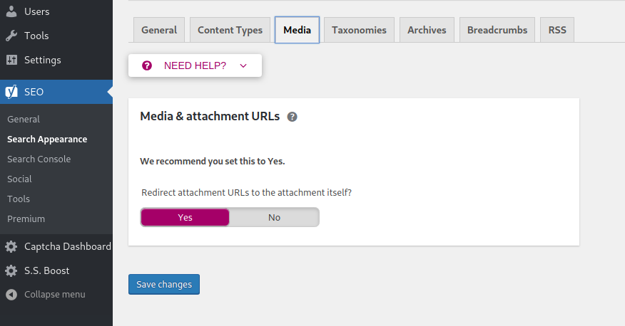 yoast search appearance media yes